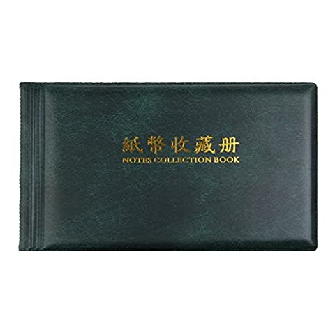 MagiDeal Banknote Currency Collection Album Paper Money Pocket Holders Cash Collecting 30 Pages Green