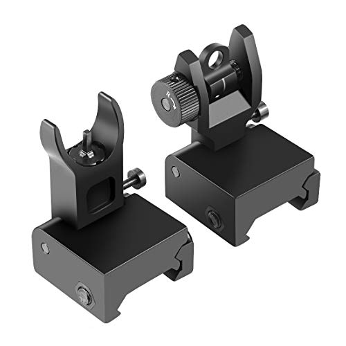 - OTW Flip Up Iron Sights Flip Up Front Sight + Back Up Rear Sight Mounts Set for Gun Rifle Handgun Airsoft