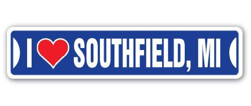 I Love Southfield, Michigan Street Sign mi City State us Wall Road décor Gift