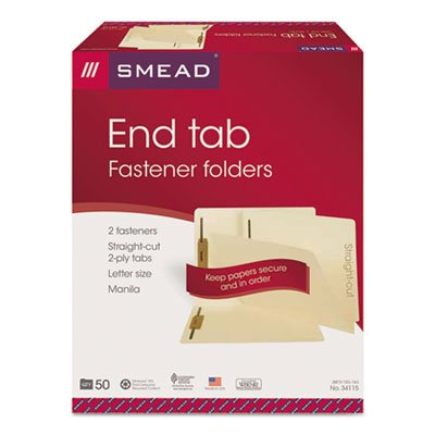 Smead End Tab Fastener File Folder, Shelf-Master Reinforced Straight-Cut Tab, 2 Fasteners, Letter Size, Manila, 50 per Box (34115) (Pack of 2) (File End Tab)