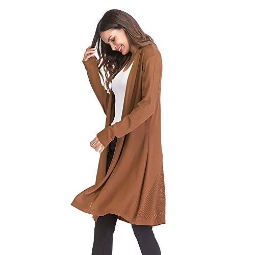 Wrap Taille Pull Cardigan Surdimensionnés Outwear M Ouvert Femmes Hiver Khaik couleur Zffde Tricoté nZqRP6BB