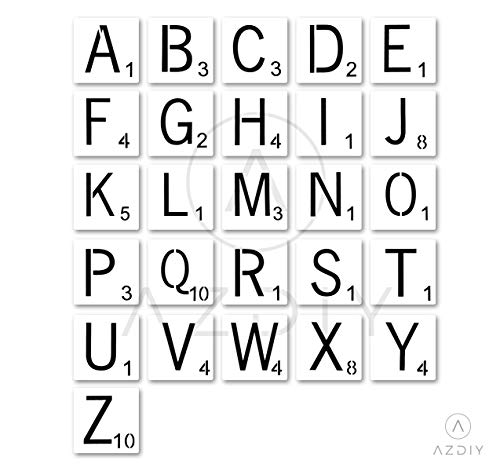 4 Inch Scrabble Letters Wall Decor, Stencils for Painting Signs AZDIY Reusable Title Stencils for Painting on Wood Laser Cut Painting Stencil for Home Décor & DIY Projects, Family Names