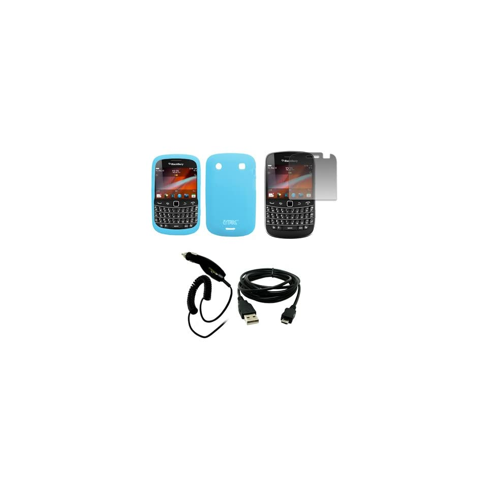 EMPIRE Light Blue Silicone Skin Case Cover + Screen Protector + Car Charger (CLA) + USB Data Cable for Verizon BlackBerry Bold 9930