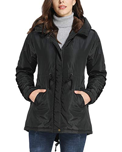 iLoveSIA Womens Military Jacket Soft Fuzzy Lined Warm Parka with Hood Black US 10