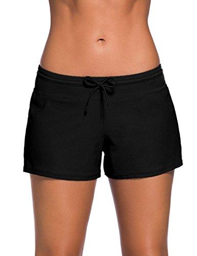 Foryingni Women's Elastic Waist Beach Bottom Swim Board Shorts S Black by Foryingni