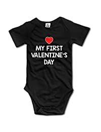 Girl Boy Clothing My First Valentine's Day Short-Sleeveless One-Piece Tank Shortie Romper
