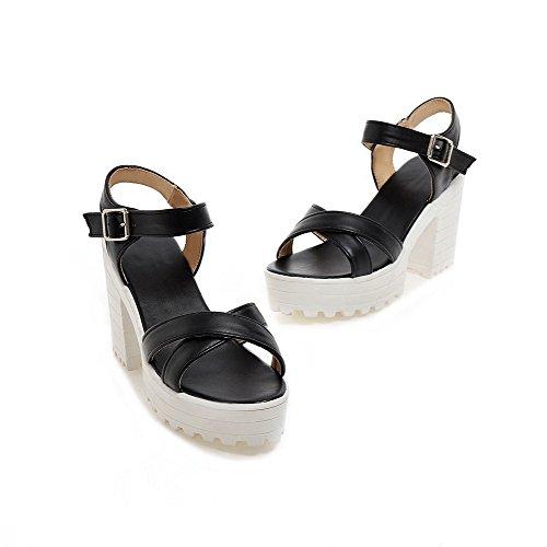 AmoonyFashion Womens Buckle Open-Toe High-Heels Pu Solid Sandals Black IAxJjxL