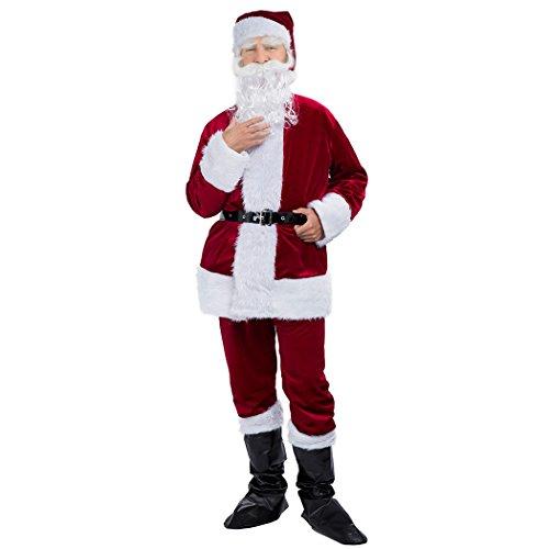 Costumes For People With Beards (Joannker Deluxe Velvet Santa Suit Costume for Christmas (Crimson Red))