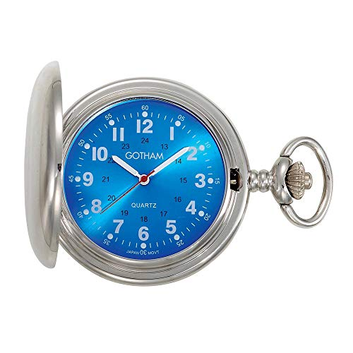 Gotham Men's Silver-Tone Blue Dial Covered Quartz Pocket Watch # GWC15042SBL