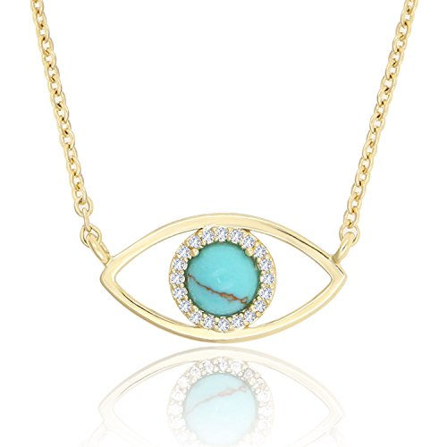 KISSPAT Natural Turquoise Stone Evil Eye Pendant Necklace Jewelry for Women