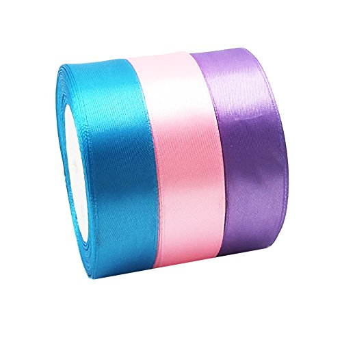 75 Yards Double Face Satin Ribbon Roll, Polyester Ribbon for Wedding Gift Packaging (1 inch)