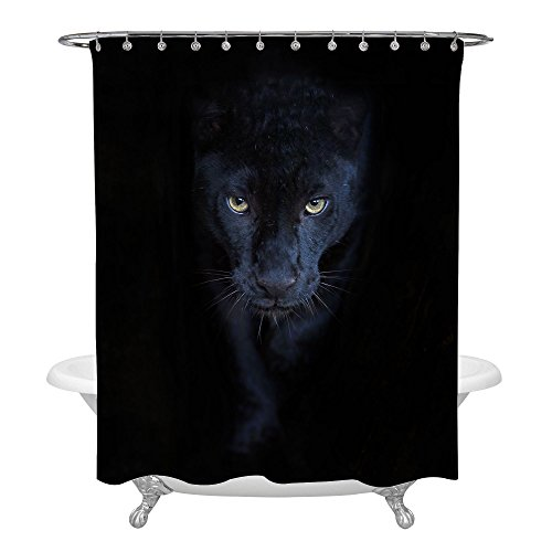 - MitoVilla Black Panther Shower Curtain Set with Hooks for Animal Themed Bathroom Decorations, Novelty Bathroom Accessories for Black Panther Party Supplies, Heavy Duty Washable Fabric, 72 W x 78 L