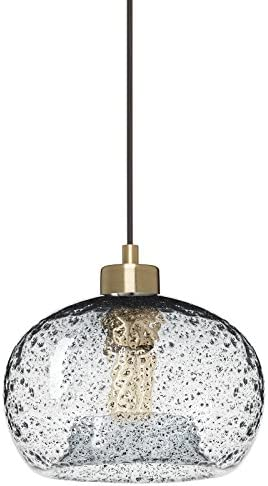 Casamotion Pendant Lighting Handblown Glass Drop ceiling lights, Rustic Hanging Light Clear Seeded Glass with black sand powder, Brushed Brass Finish