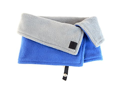 Kids Fleece Face and Neck Warmer Winter Scarf Neck Gaiter Cowl Blue/Gray with Jacket Strap and Velcro Closure for Toddlers and Children by Toasty Ladybug
