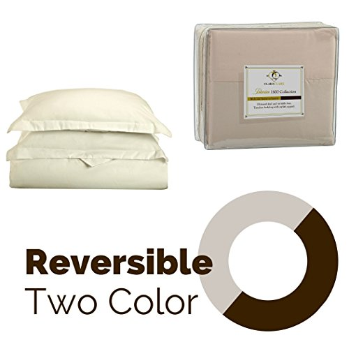 Clara Clark Reversible Two Color Duvet Cover Set, Full Size, Off-White / Cream Beige Colors - Highest Quality 1800 Brushed Microfiber, Better than Cotton Super Soft, Silky Cozy, Plush and Breathable, Wrinkle, Stain and Fade Resistant Hypoallergenic Fabric - Set Includes Luxury Button Closure Duvet Cover and Pillow Shams with a Stylish Flange ()