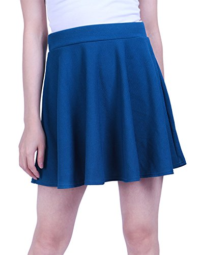 HDE Women's Skater Skirt Pleated Flared A Line Circle Stretch Waist Skater Skirt (Blue, Medium) ()