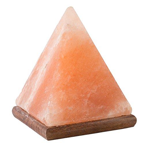 [Hand Crafted] HemingWeigh Natural Himalayan Crystal Rock Salt Pyramid Lamp with Wood Base