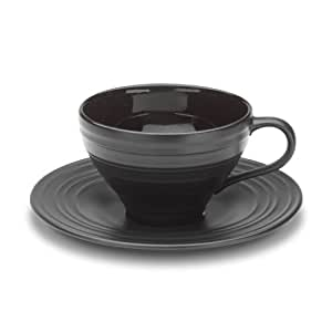 Mikasa Swirl Black Tea Cup and Saucer Set