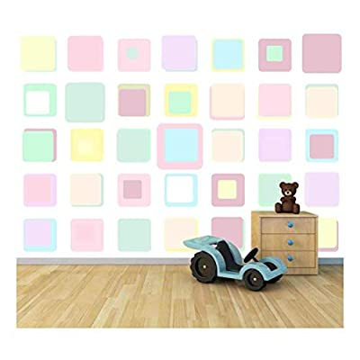 Original Creation, Majestic Craft, Bright Candy Color Squares Large Wall Mural Removable Peel and Stick Wallpaper