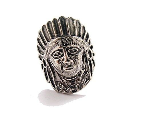 Cufflinks Executive (Mens Executive Cufflinks Silver Tone Chief Warrior Native American Headdress Cuff Links)