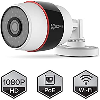 EZVIZ Husky HD 1080p Outdoor PoE & Wi-Fi Video Security Bullet Camera, Works with Alexa, 100 ft. Night Vision, Weatherproof