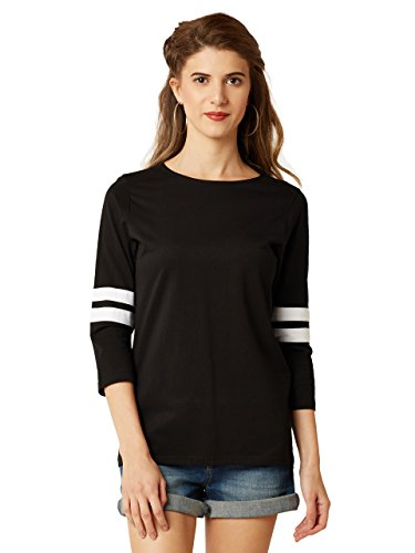 Miss Chase Women #39;s Black Round Neck 3/4th Sleeves Solid Regular Basic Top
