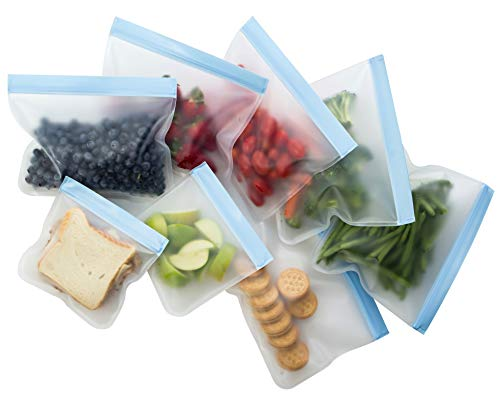 Reusable Sandwich Bags - Biodegradable Reusable Sandwich Bags (8 Pack) - Reusable Snack Bags, Leakproof Food Storage Bags, and Clear Lunch Bags, Made with Food Grade Material - Excellent for Meal Prepping, FDA Approved