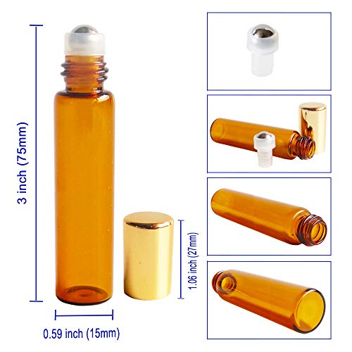 12pcs 10ml Empty AMBER Glass Roller Bottle w/ Gold Lid, Refillable Cosmetic Container for Essential Oil Perfume, Extra 0.5ml Dropper, Mini Funnel, Key Opener, 6 Stainless Steel Roll-on Balls, 24 Labels by GreatforU (Image #2)