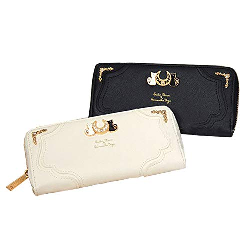 Sailor Moon Wallet 20th Anniversary Luna Purse Faux Leather Zipper Card Holder Gift for Girls (Black) ()