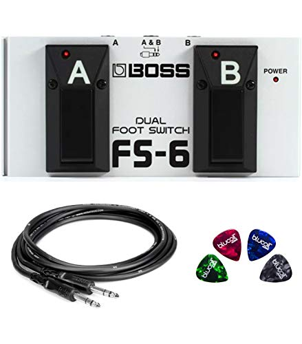 BOSS FS-6 Dual Latch and Momentary Foot Switch Pedal for Guitars, Keyboards, and Rhythm Machines Bundle with 3-FT 1/4-Inch Male to Male Instrument Cable, and Blucoil 4-Pack of Celluloid Guitar Picks