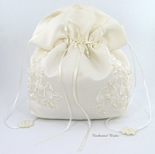 - Satin Bridal Wedding Small Money Bag with Pearl-Embellished Floral Lace for Dollar Dance, Bridal Purse, and Other Special Occasions #E1DEDBiv (IVORY)