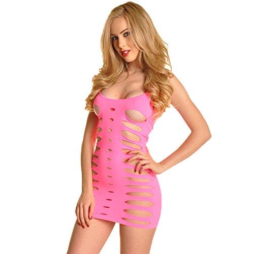Angelina Seamless Neon Pink Mini Dress #70493