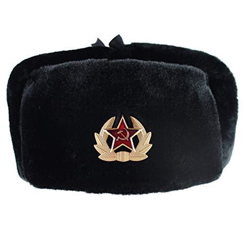 a Ushanka Bomber Hats Pilot Trapper Trooper Winter Faux Rabbit Fur Earflap Men Snow Caps ()