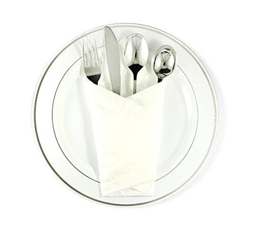 41A7d4V3lNL  sc 1 st  Feedlinks.net Global Site & 200 Silver Plastic Cutlery Premium Quality Fancy Disposable ...