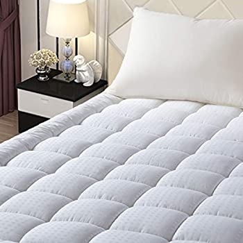 EASELAND Full Size Mattress Pad Pillow Top Mattress Cover Quilted Fitted Mattress Protector Cotton Top 8-21
