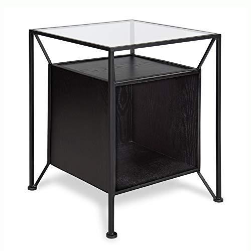 Kate and Laurel Garrod Record Storage End Table, Black ()