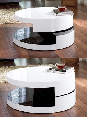Magia Round Swivel Coffee Table White And Black Amazoncouk - Round rotating coffee table
