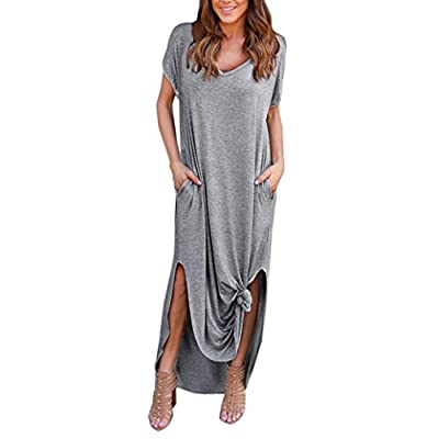 Women 's Loose Summer Beach Short Sleeves Floor-Length Long Dress,[Irregular Soft Sweater Lightweight Pullover Tops Blouse T-Shirt]