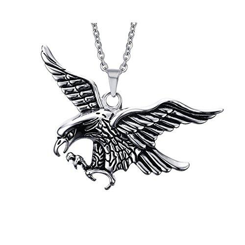 Titanium Stainless Steel Retro Punk&Rock Flying eagle Charm Men