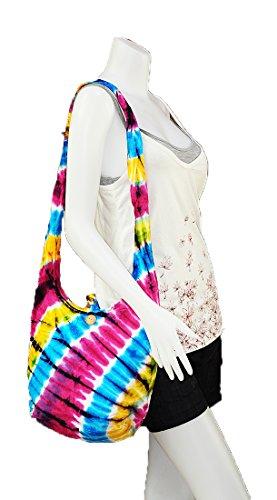 Handmade Gypsy Dye Sling Cotton Purse Messenger Boho Mix Medium Tie Hippie Hobo Bag Zip Thai M1686 Crossbody Pattern Shoulder wzqR6xISn