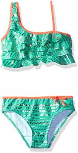 LiMiTeD Too Girls' Gold Foil Aztec Stripe Bikini