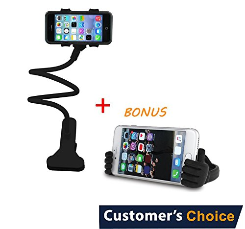 Audiology Connect 2 in 1 Gooseneck Phone Holder, Lazy Gooseneck Phone Holder, Bendy Phone Holder. Perfect for Bed, Desk, Kitchen + Thumb Up Phone Stand! by Audiology