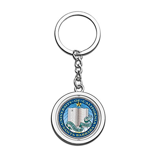 University of California Santa Barbara UCSB Badge Keychain 3D Crystal Creative Spinning Round Stainless Steel Keychain Travel Souvenir Key Chain Ring