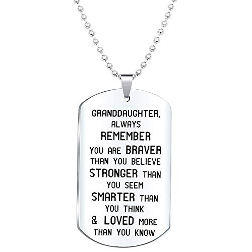 Elegant Chef Granddaughter Inspirational Jewelry Necklace Gift- Always Remember You are Braver Stronger Smarter