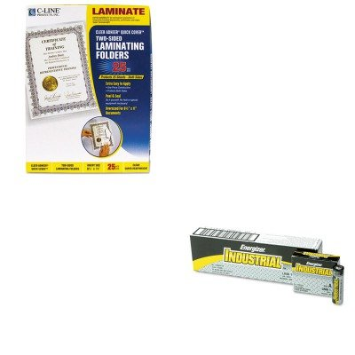 KITCLI65187EVEEN91 - Value Kit - C-line Quick Cover Laminating Folders (CLI65187) and Energizer Industrial Alkaline Batteries (EVEEN91) - Laminating Cover Folders Quick