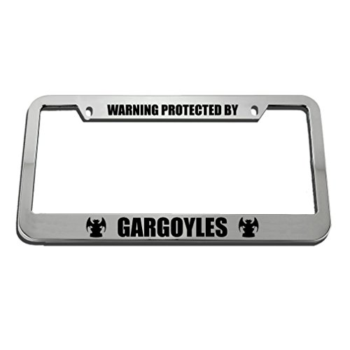 Speedy Pros Warning Protected by Gargoyles Zinc Metal License Plate Frame Car Auto Tag Holder - Chrome 2 Holes