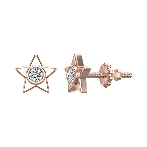 Diamond Earrings Star Shape Studs 10K Rose Gold - Bezel Setting Screw Back Posts (0.10 carat total)
