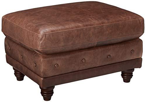 "Stone & Beam Bradbury Chesterfield Modern Tufted Leather Ottoman, 30.3""W, Brown"