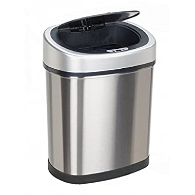 Oval Future Living Tech Steel 42 Liter Auto Infrared Sensor Trash Can