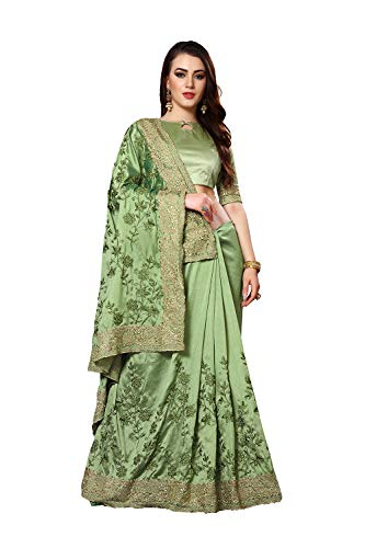 Designer Sarees Heavy Resham Jari Embroidery Work with Heavy Stone Work Mayo Silk Saree for Women with Unstitched Blouse Piece. Green ()
